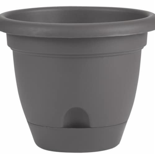Bloem LP16908 16 in. Lucca Self Watering Planter with Saucer, Charcoal Perspective: front