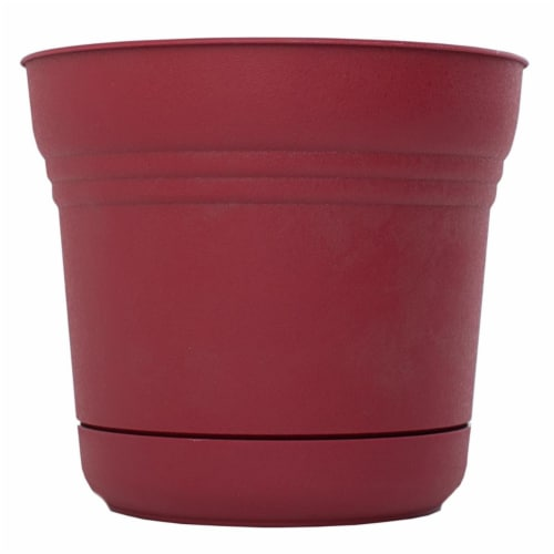 Bloem 7483506 4.5 x 5 in. Plastic Saturn Planter, Burnt Red Perspective: front