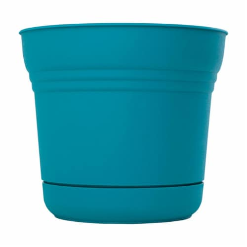 Bloem 7502040 6.5 x 7.3 in. Dia. Resin Planter, Teal Perspective: front