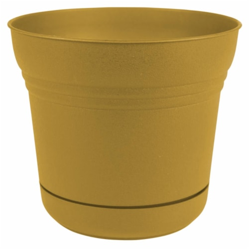 Bloem 7004692 12 in. Dia. Polyresin Saturn Planter, Yellow Perspective: front