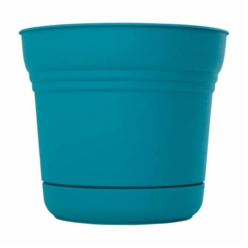 Bloem 7501653 10.8 x 12.3 in. Dia. Resin Planter, Teal Perspective: front