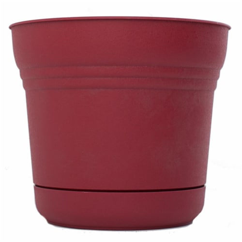 Bloem 7484785 12.75 x 14 in. Plastic Saturn Planter, Burnt Red Perspective: front