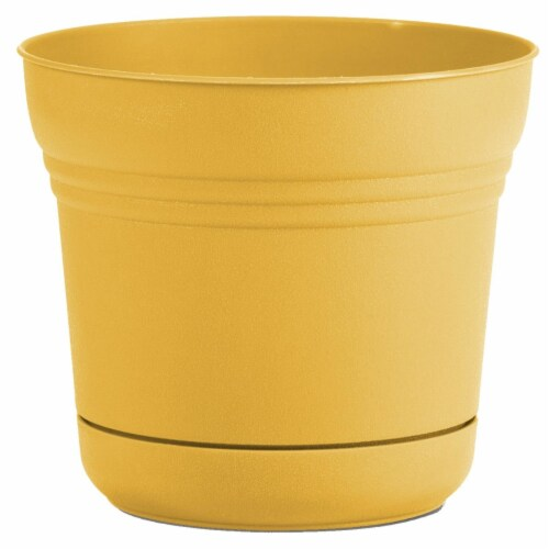 """Bloem Saturn Planter W/ Saucer 14"""" Earthy Yellow Perspective: front"""