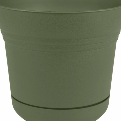Bloem SP1442 14 in. Saturn Planter with Saucer, Living Green Perspective: front