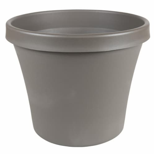 Bloem 7502149 12.6 x 14.9 in. Dia. Resin Terra Planter, Charcoal Perspective: front