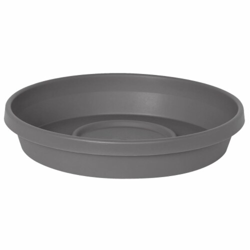 Bloem STT20908 15-20 in. Terra Plant Saucer Tray for Planters, Charcoal Perspective: front