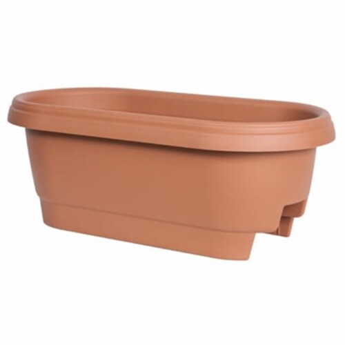 Fiskars 24 in. Clay Deck Rail Planter Perspective: front