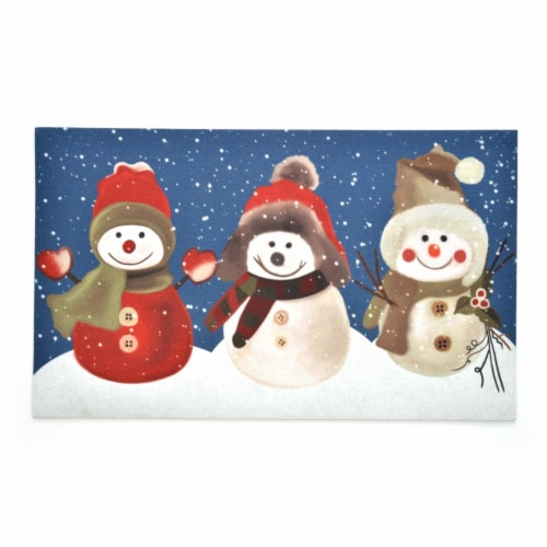 Stephan Roberts Home STRB-15797-12 18 x 30 in. Crumb Rubber Door Mat, Snow Buddies Perspective: front