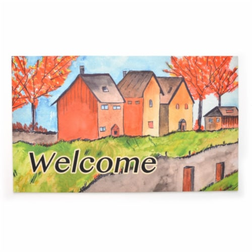 Stephan Roberts Home STRB-15805-12 18 x 30 in. Crumb Rubber Door Mat, Cottages in the Fall Perspective: front