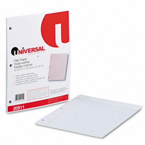 Universal Filler Paper, 3-Hole, 8.5 X 11, Medium/College Rule, 100/Pack 20911 Perspective: front