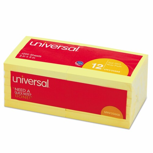 Universal Self-Stick Note Pads, 3 X 3, Yellow, 100-Sheet, 12/Pack 35668 Perspective: front
