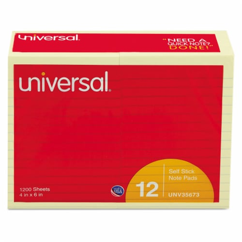 Universal Self-Stick Note Pads, Lined, 4 X 6, Yellow, 100-Sheet, 12/Pack 35673 Perspective: front