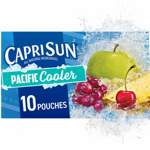 Capri Sun Pacific Cooler Mixed Fruit Flavored Juice Drink Blend Pouches Perspective: front