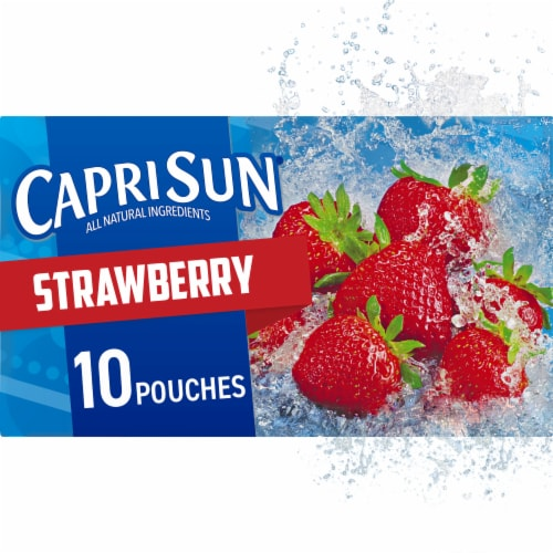Capri Sun Strawberry Flavored Juice Drink Blend Pouches Perspective: front