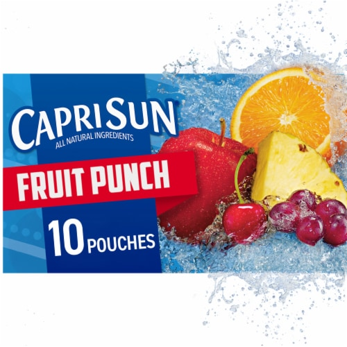 Capri Sun Fruit Punch Flavored Juice Drink Blend Pouches Perspective: front