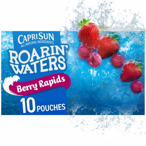 Capri Sun Roarin' Waters Berry Rapids Flavored Water Beverage Pouches 10 Count Perspective: front