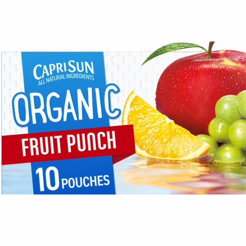 Capri Sun Organic Fruit Punch Juice Drink Blend Pouches Perspective: front
