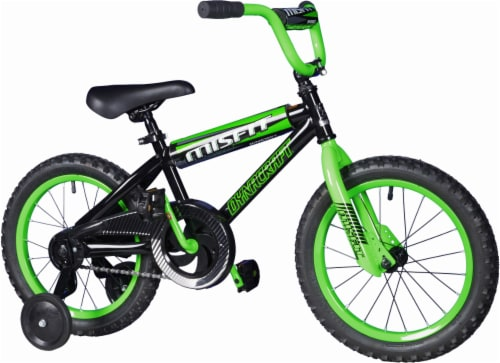 Dynacraft Children's Misfit Bicycle - Black/Green Perspective: front