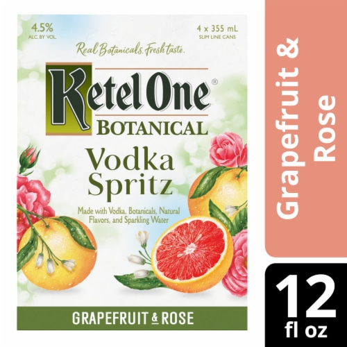 Ketel One Botanical Grapefruit & Rose Vodka Spritz Perspective: front