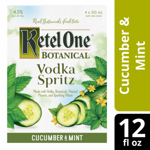 Ketel One Botanical Cucumber & Mint Vodka Spritz Perspective: front