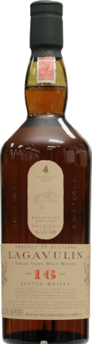 Lagavulin 16 Year Islay Single Malt Scotch Whisky Perspective: front