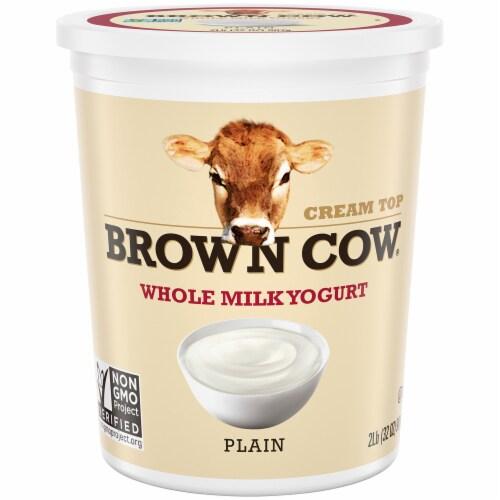 Brown Cow Cream Top Plain Whole Milk Yogurt Perspective: front