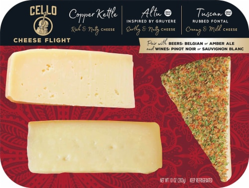 Cello Copper Kettle Parmesan Altu & Herb Rubbed Fontina Cheese Flight Perspective: front