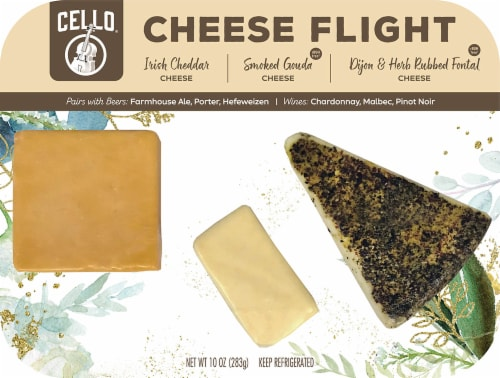 Cello Irish Cheddar Chipotle Gouda & Herb Rubbed Fontina Cheese Flight Perspective: front