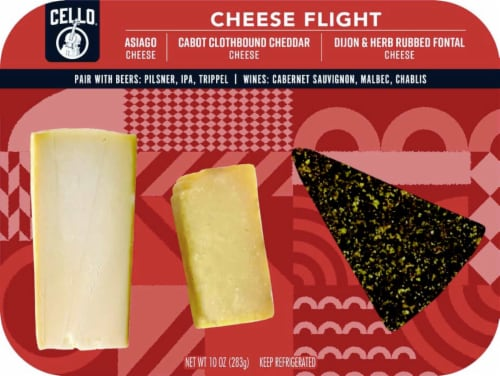 Cello Asiago Clothbound Cheddar & Herb Rubbed Fontina Cheese Flight Perspective: front
