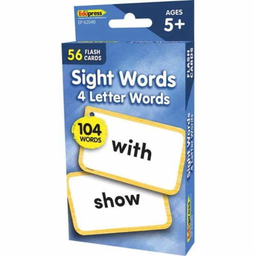 Teacher Created Resources EP-62040 4 Letters Words Flash Cards Sight Words Perspective: front