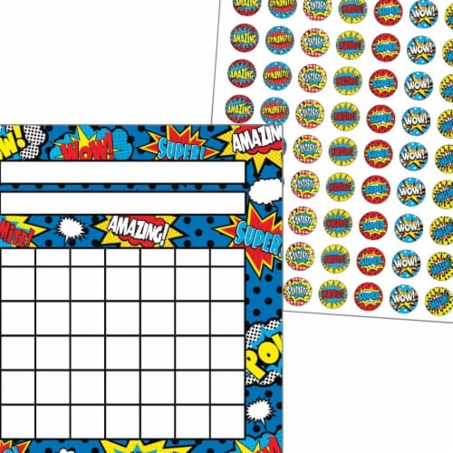 Teacher Created Resources 2021612 Incentive Charts & Stickers - Superhero Set Perspective: front