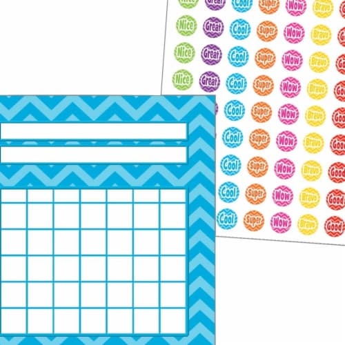 Teacher Created Resources 2021616 Incentive Charts & Stickers - Aqua Chevron Set Perspective: front