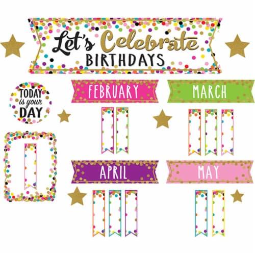 Teacher Created Resources TCR5884 Confetti Happy Birthday Mini Bulletin Board Set Perspective: front