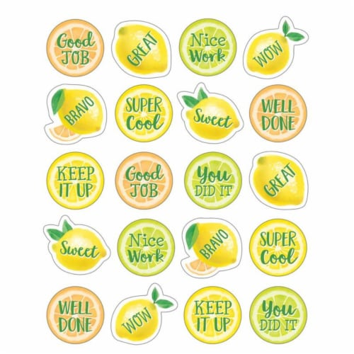 Lemon Zest Stickers, Pack of 120 Perspective: front