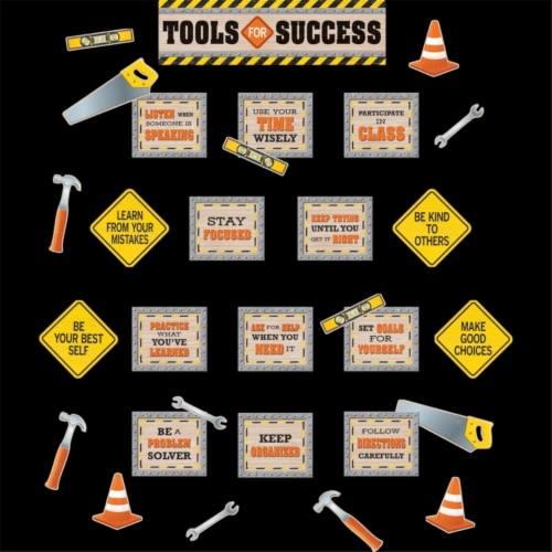 Under Construction Tools for Success Mini Bulletin Board Set Perspective: front