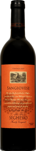 Seghesio Family Vineyards Sangiovese Perspective: front