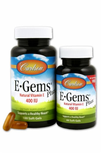 Carlson E-Gems Vitamin E Plus Soft Gels 400 IU Perspective: front