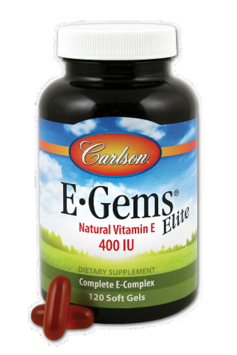 Carlson E-Gems Elite Natural Vitamin E Soft Gels 400IU Perspective: front