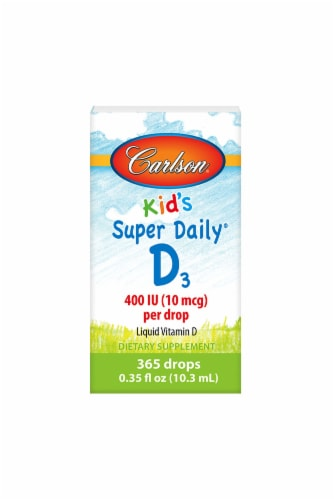 Carlson Kid's Super Daily D3 400 IU per Drop Dietary Supplement Perspective: front