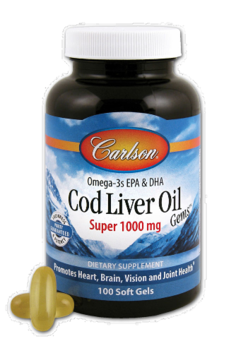Carlson Super Cod Liver Oil Soft Gels 1000mg Perspective: front