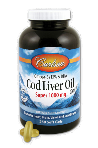 Carlson Cod Liver Oil 1000 mg Softgels Perspective: front