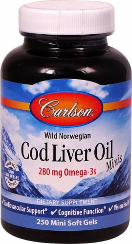 Carlson Wild Norwegian Cod Liver Oil Minis Mini Soft Gels 250mg Perspective: front