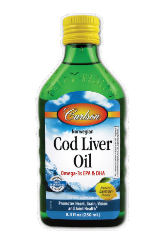 Carlson Lemon Norwegian Cod Liver Oil Perspective: front
