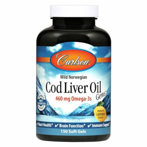 Carlson Lemon Norwegian Cod Liver Oil Softgels 460 mg Perspective: front