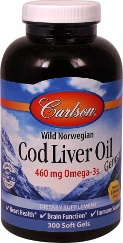 Carlson Natural Lemon Norwegian Cod Liver Oil Gems Softgels 460 mg Perspective: front