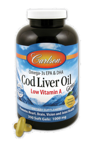 Carlson Cod Liver Oil Low A 1000 mg Softgels Perspective: front