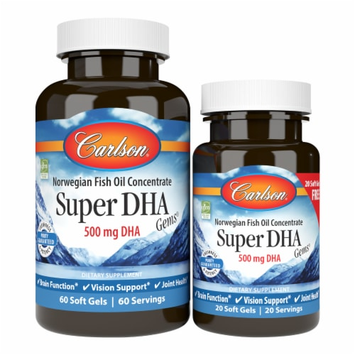 Carlson Super DHA Gems 1000mg Soft Gels Perspective: front