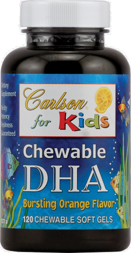 Carlson for Kids Chewable DHA Bursting Orange Flavor Chewable Softgels 120 Count Perspective: front