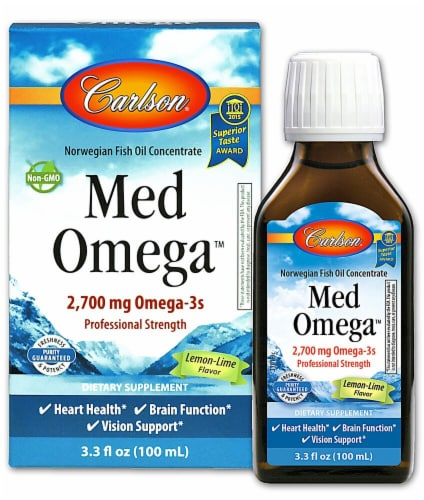 Carlson  Norwegian MedOmega™ Fish Oil Concentrate   Lemon Lime Perspective: front