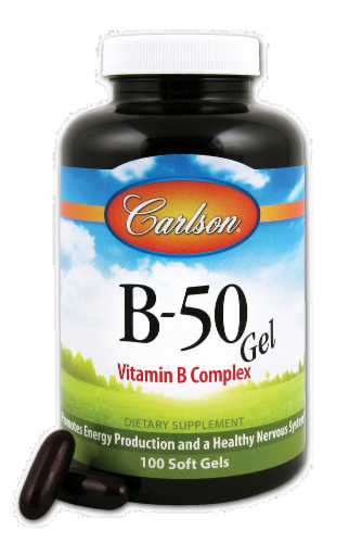 Carlson B-50 Vitamin B-Complex Soft Gels Perspective: front